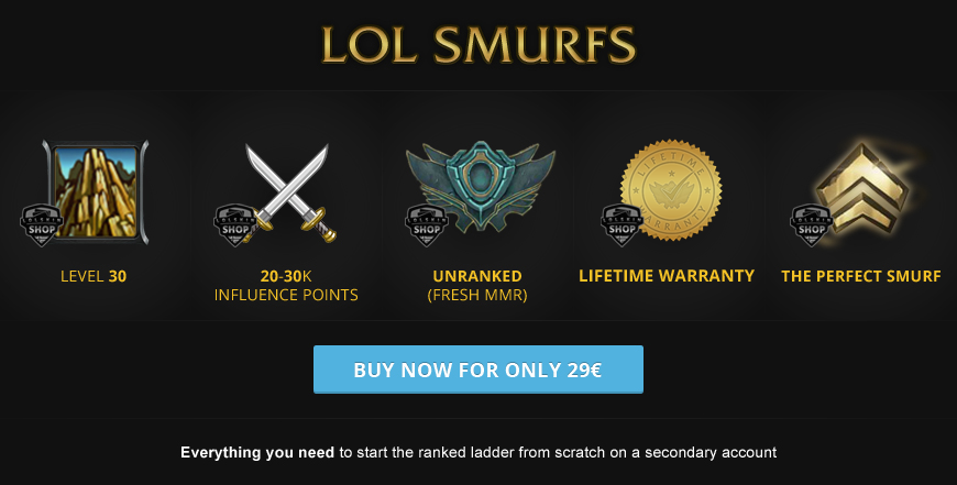 Buy LoL smurf accounts for League of Legends