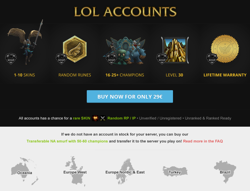 buy level 30 league of legends account