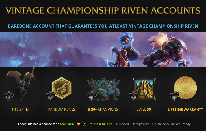 vintage championship riven rare skin for LoL