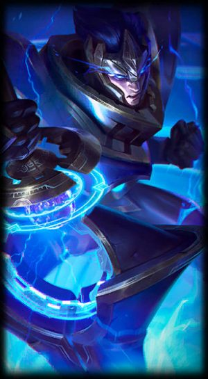 loading screen for Hextech Jarvan IV league of legends skin