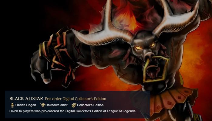 Black Alistar Rare Skin League of Legends