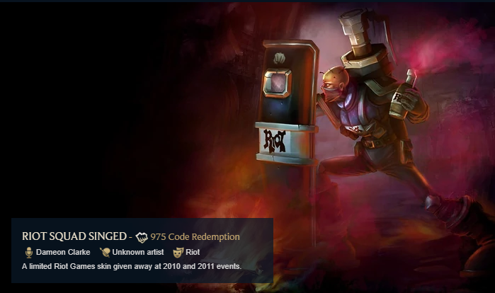 Rio Squad Singed Rare Skin League of Legends