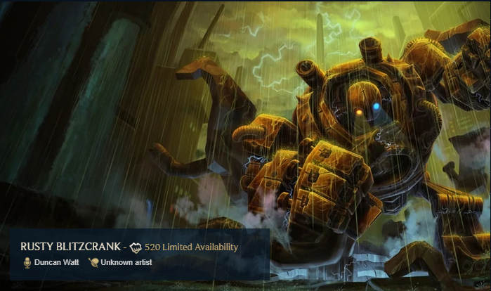 Rusty Blitzcrank Rare Skin League of Legends