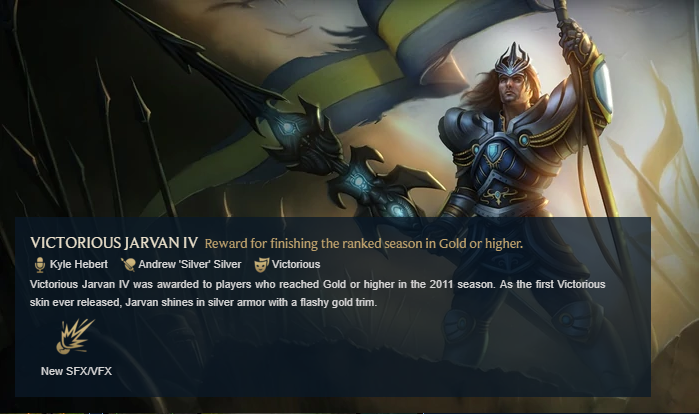 Victorious J4 gold reward for the 2011 League of Legends ranked season