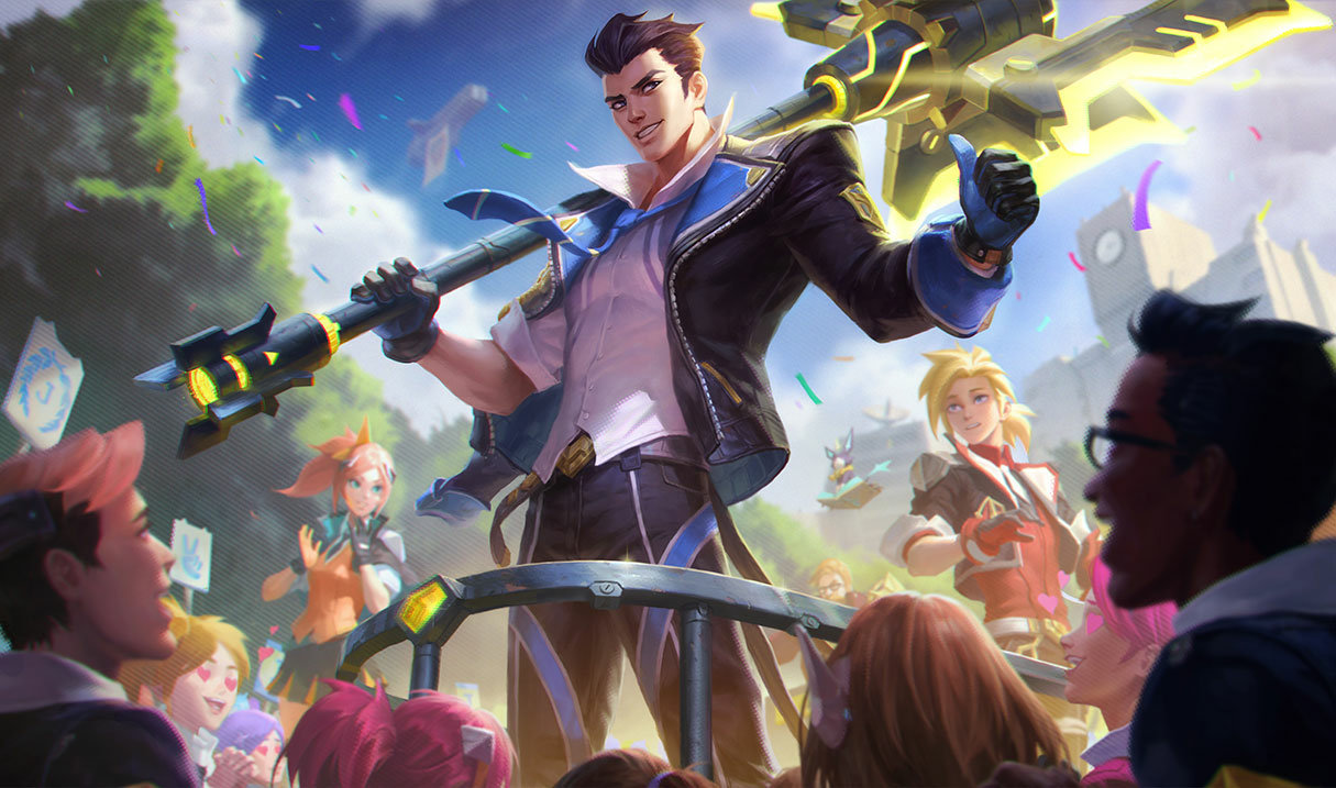 splash art for battle academia jayce for league of legends