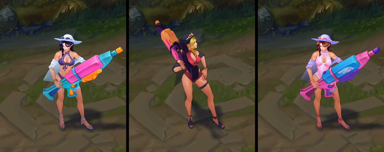 Pool Party Caitlyn chroma skin  pack for league of legends ingame picture